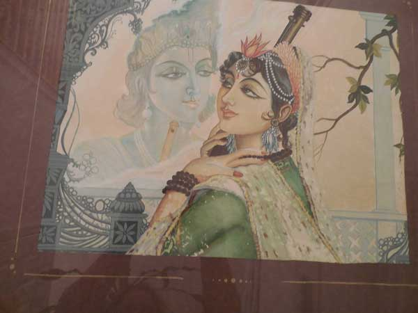 Lord Krishna with His Devotee, a watercolor by Sue Hennessy