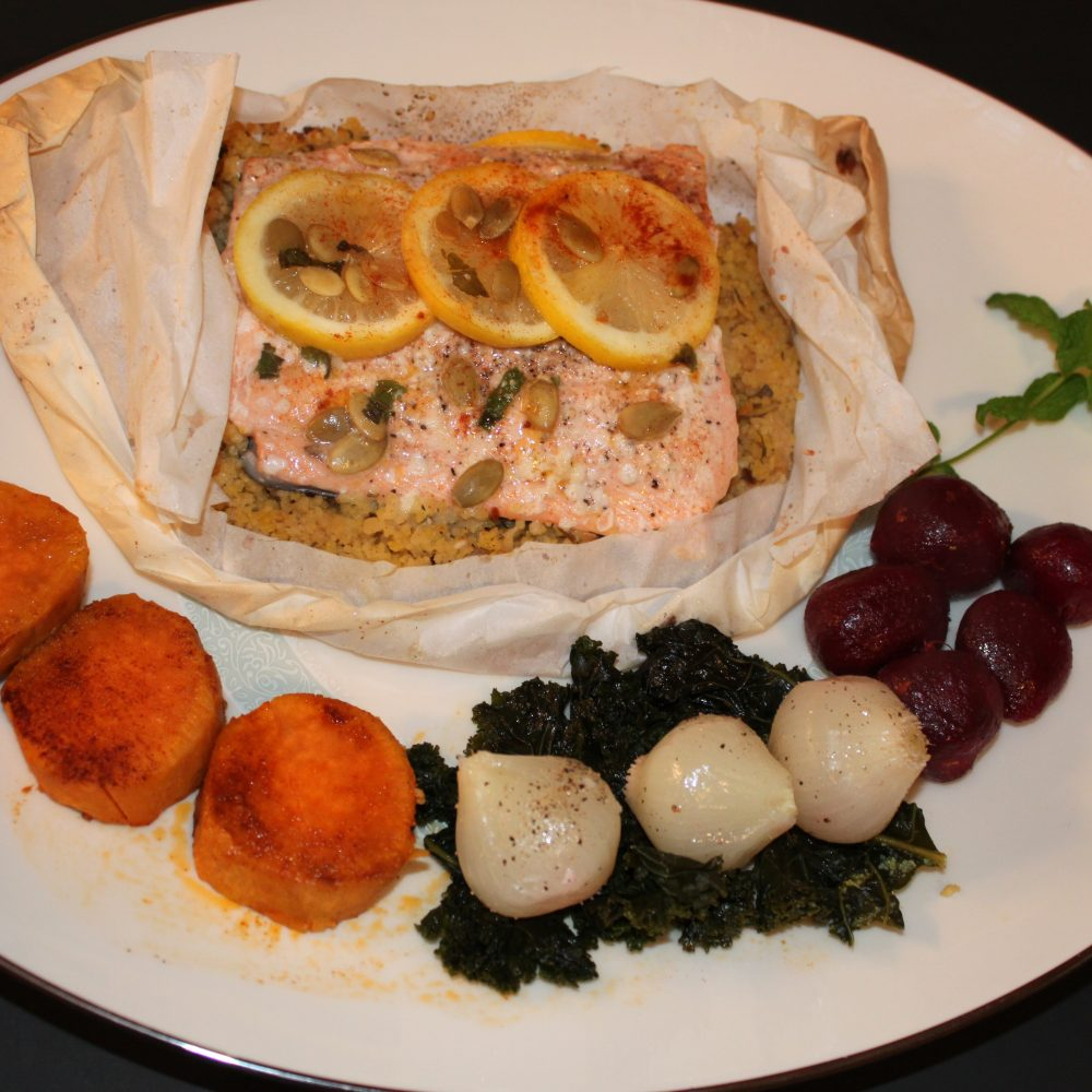 Steamed Salmon in the Parchment Paper
