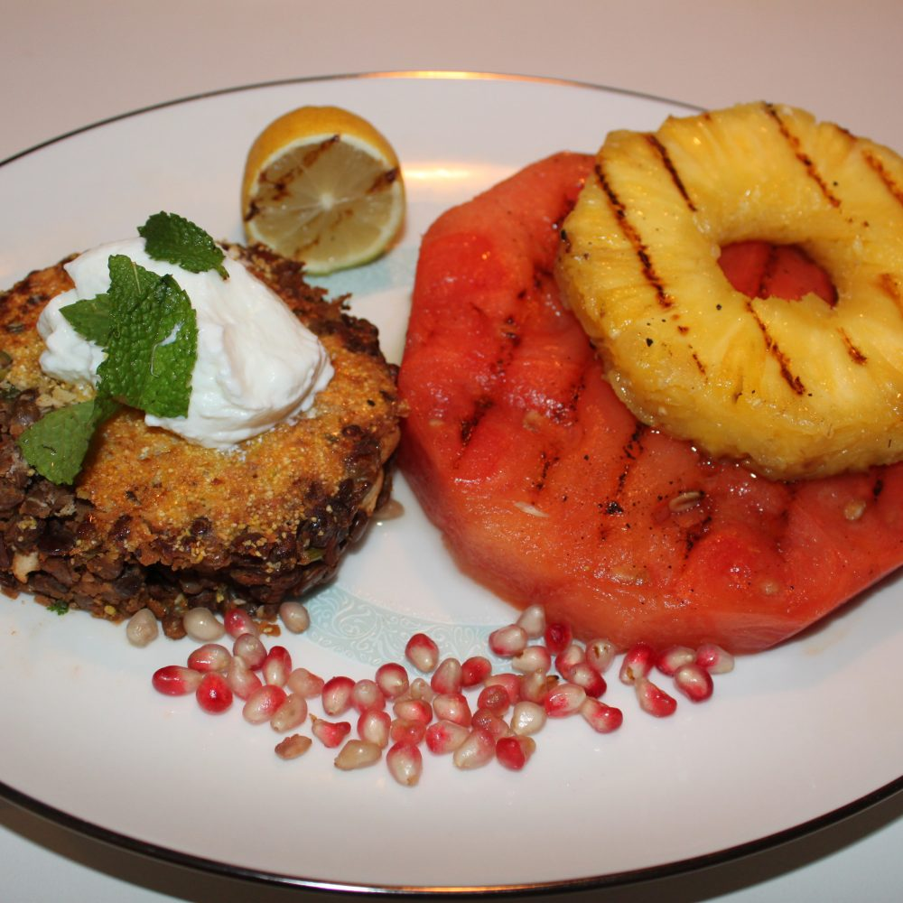 Lentil Patties with Grilled Watermelon and Pineapple (Serves: 4)
